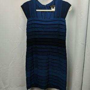 Tadashi Shoji Blue Ombre shutter pleated dress